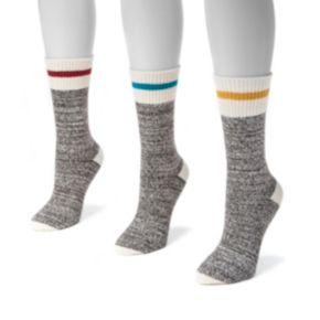 Women's MUK LUKS 3-pk. Marled Stripe Boot Crew Socks