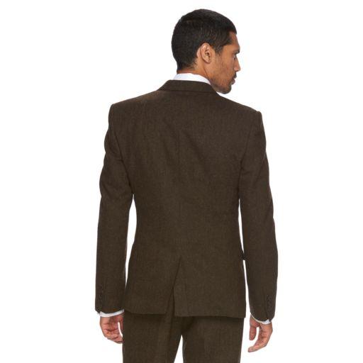 Men's WD.NY Slim-Fit Brown Tweed Wool-Blend Suit Jacket