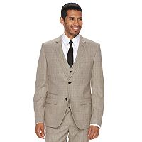 Men's WD.NY Slim-Fit Tan Plaid Suit Jacket