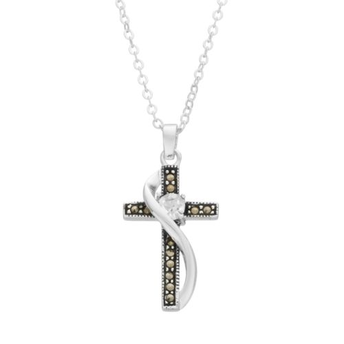 Silver Luxuries Marcasite & Cubic Zirconia Cross Pendant