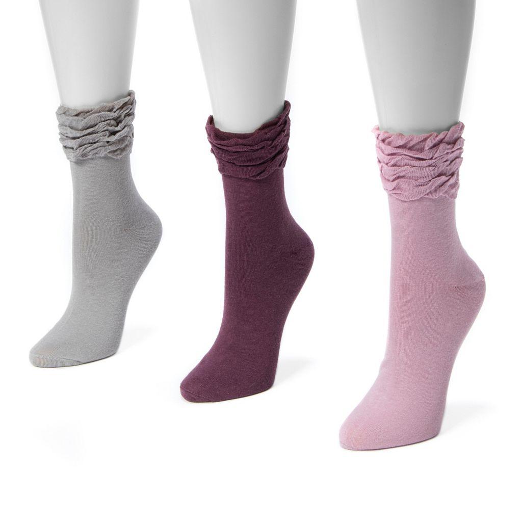 Women's MUK LUKS 3-pk. Ruffled Crew Socks