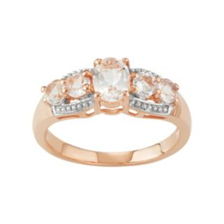 Journee Collection 14k Rose Gold Over Silver Morganite 5-Stone Ring