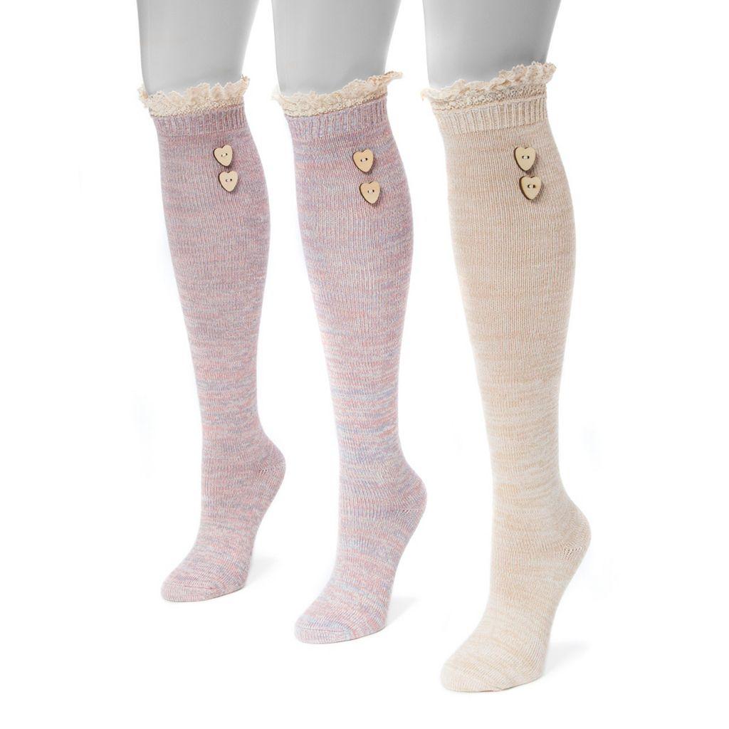 Women's MUK LUKS 3-pk. Lace Heart Button Knee-High Socks
