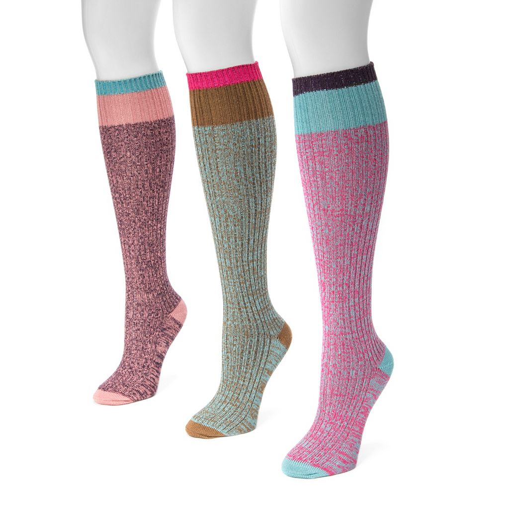 Women's MUK LUKS 3-pk. Marled Colorblock Knee-High Socks