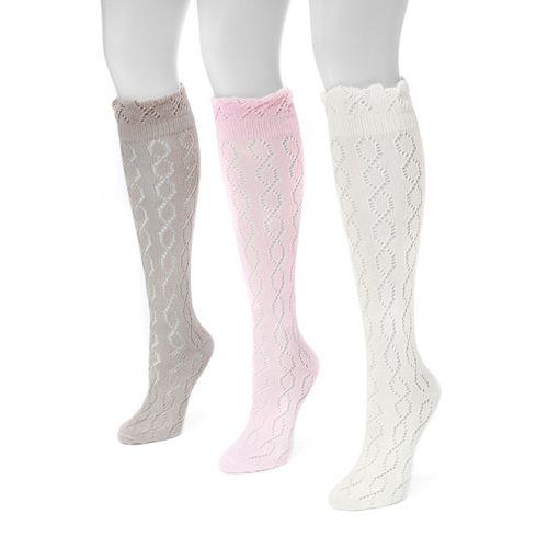 Women's MUK LUKS 3-pk. Pointelle Knee-High Socks