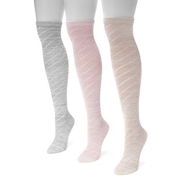 Women's MUK LUKS 3-pk. Marled Pointelle Knee-High Socks
