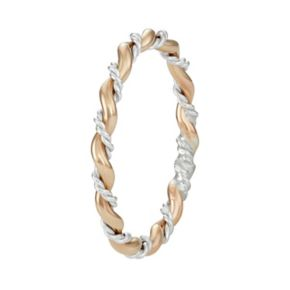 Journee Collection Two Tone Sterling Silver Twist Ring