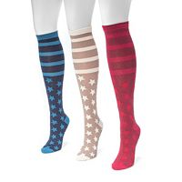 Women's MUK LUKS 3-pk. Stars & Stripes Knee-High Socks