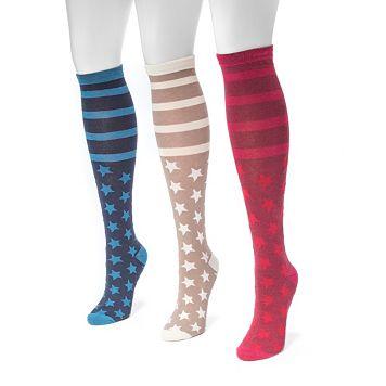 Women's MUK LUKS 3-pk. Stars & Stripes Knee-High Socks