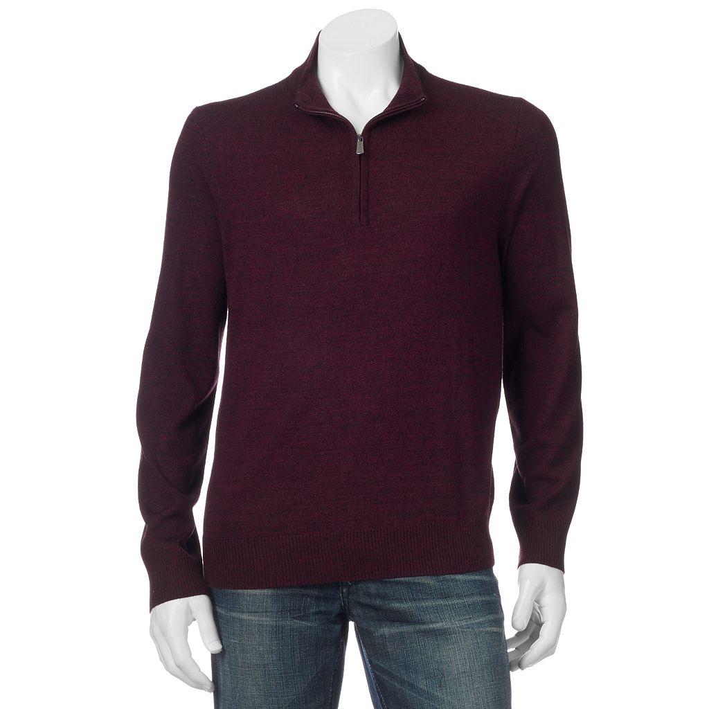 Big & Tall Apt. 9® Modern-Fit Merino Wool-Blend Quarter-Zip Sweater
