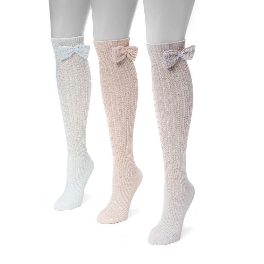 Women's MUK LUKS 3-pk. Pointelle Bow Knee-High Socks
