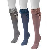 Women's MUK LUKS 3-pk. Lace Bow Knee-High Socks