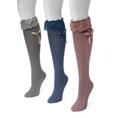 Women's MUK LUKS 3 pkLace Bow Knee-High Socks