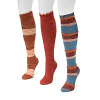 Women's MUK LUKS 3-pk. Fuzzy Striped Knee-High Socks
