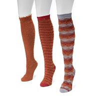 Women's MUK LUKS 3 pkFuzzy Diamond Knee-High Socks