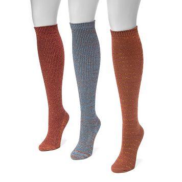 Women's MUK LUKS 3-pk. Marled Knee-High Socks