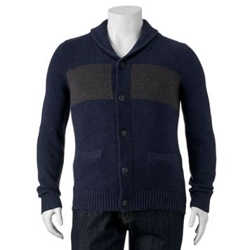 Big & Tall SONOMA Goods for Life™ Classic-Fit Chest-Striped Shawl-Collar Sweater