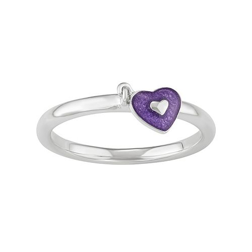 Journee Collection Sterling Silver Heart Charm Ring