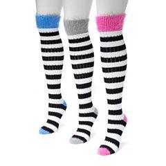 Women's MUK LUKS 3 pkFuzzy Striped Knee-High Socks
