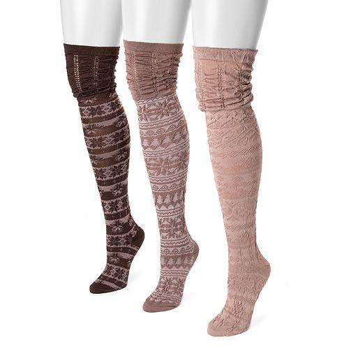 MUK LUKS 3-pk. Women's Microfiber Fairisle Over-the-Knee Socks