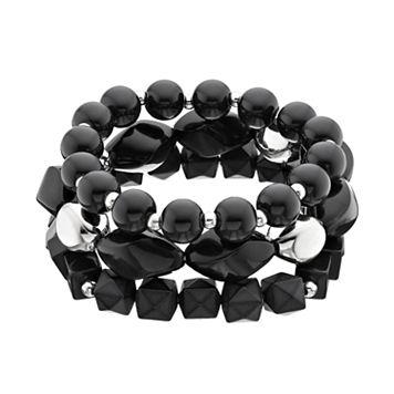 Black Beaded Stretch Bracelet Set