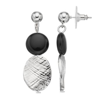 Black Textured Double Drop Earrings