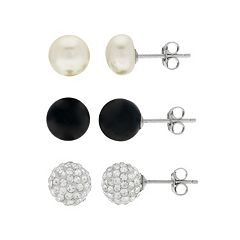 PearLustre by Imperial Freshwater Cultured Pearl, Black Agate & Crystal Stud Earring Set