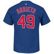 Men's Majestic Chicago Cubs Jake Arrieta Player Name and Number Tee