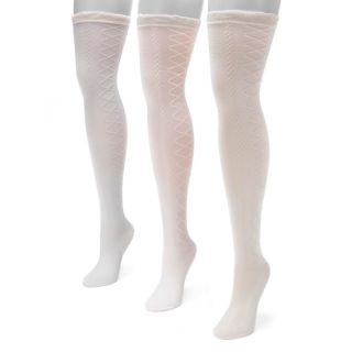 Women's MUK LUKS 3-pk. Lace Over-The-Knee Socks