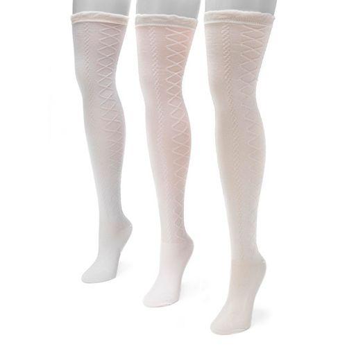 Women's MUK LUKS 3-pk. Lace Over-The-Knee Socks