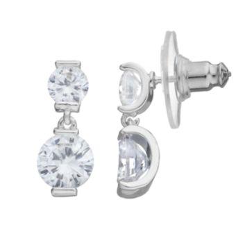 Dana Buchman Cubic Zirconia Double Drop Earrings