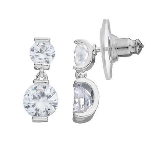 Dana Buchman Cubic Zirconia Double Drop Earrings