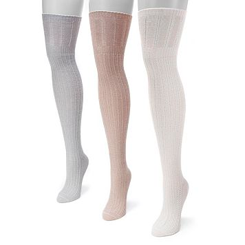 Women's MUK LUKS 3-pk. Pointelle Over-the-Knee Socks