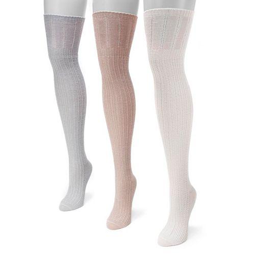Women's MUK LUKS 3-pk. Pointelle Over-the-Knee Socks