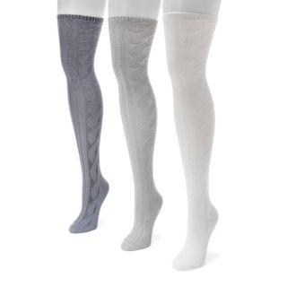 Women's MUK LUKS 3-pk. Cable-Knit Over-the-Knee Socks