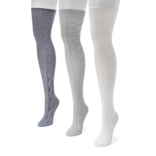 Women's MUK LUKS 3-pk. Cable-Knit Over-the-Knee Socks