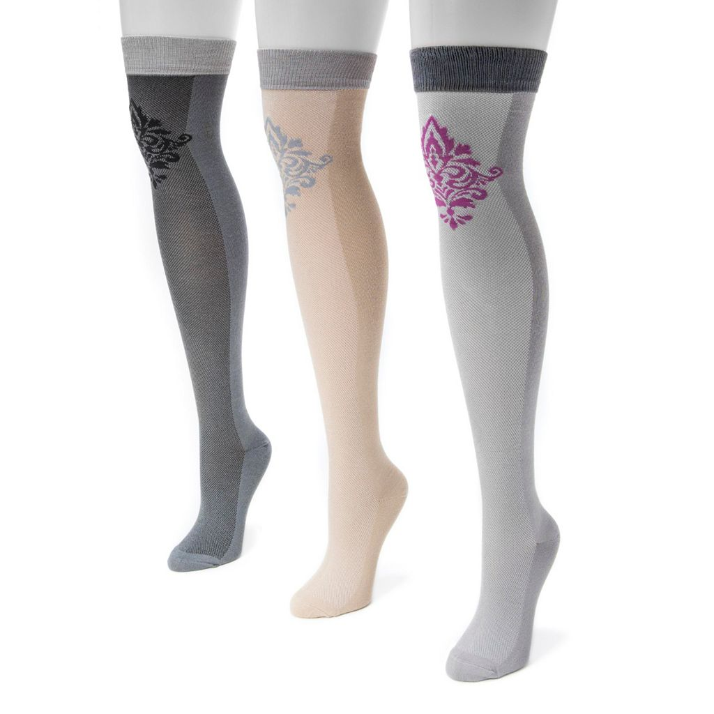 Women's MUK LUKS 3-pk. Damask Over-the-Knee Socks