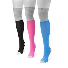 Women's MUK LUKS 3 pkColorblock Over-the-Knee Socks