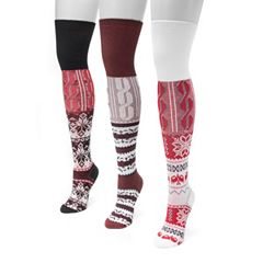 Women's MUK LUKS 3 pkLodge Mixed Media Over-the-Knee Socks
