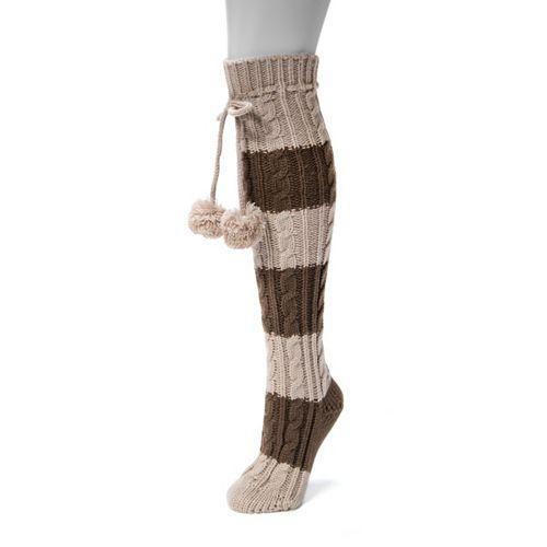 Women's MUK LUKS Striped Pom Pom Knee-High Socks