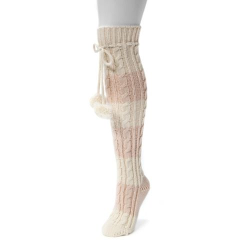 Women's MUK LUKS Striped Pom Pom Knee-High Socks
