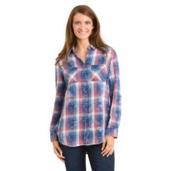 Women's Haggar Plaid Rolled-Sleeve Button-Down Shirt