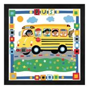 Metaverse Art 'Bus' Colorful Framed Wall Art