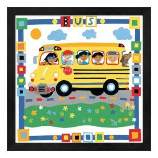 "Metaverse Art ""Bus"" Colorful Framed Wall Art"