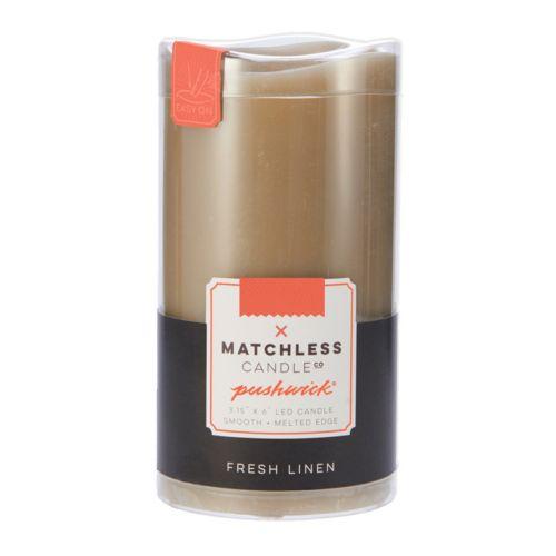 "Matchless Candle Co. PushWick 3"" x 6"" Fresh Linen Flameless LED Candle"