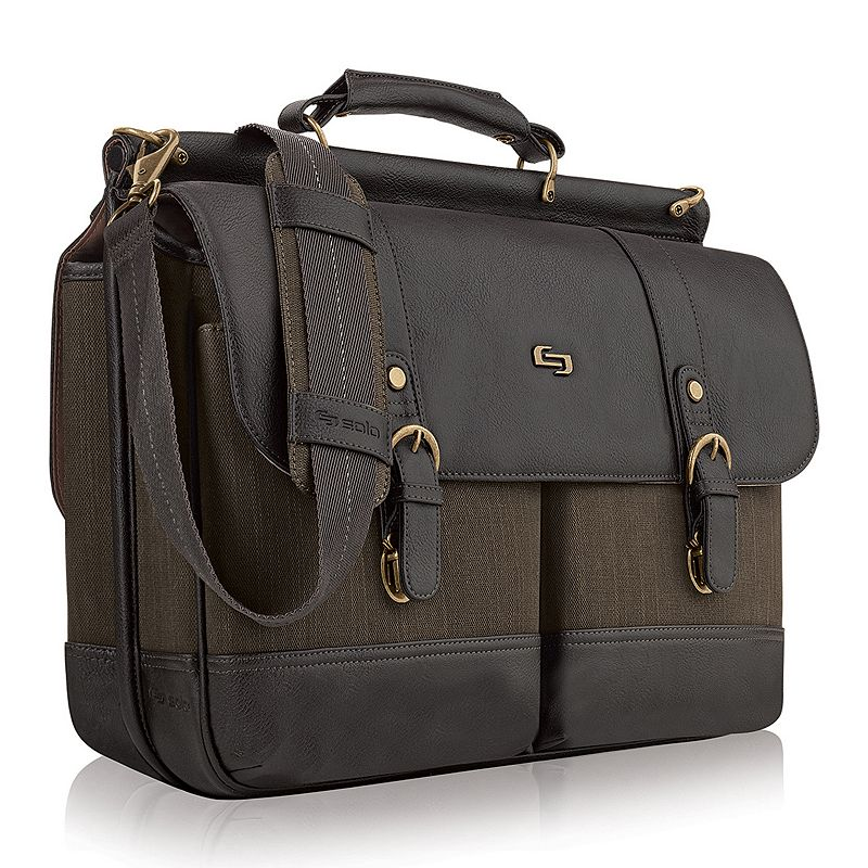 Solo Bradford Laptop Briefcase, Brown Distinguished and professional, this Solo Bradford briefcase makes a statement. Padded compartment fits up to a 15.6  laptop Dedicated interior pocket for a tablet Front zippered organizer makes items easy to find File section keeps papers neat Quick-access rear accessory pocket Removable, adjustable shoulder strap and carry handles 13.87 H x 17.37 W x 5.5 D Weight: 3.4 lbs. Cotton, polyester Magnetic buckle closure Manufacturer's 5-year limited warrantyFor warranty information please click here Model no. UBN640-4 Size: One Size. Color: Brown. Gender: Unisex. Material: Soft Side.