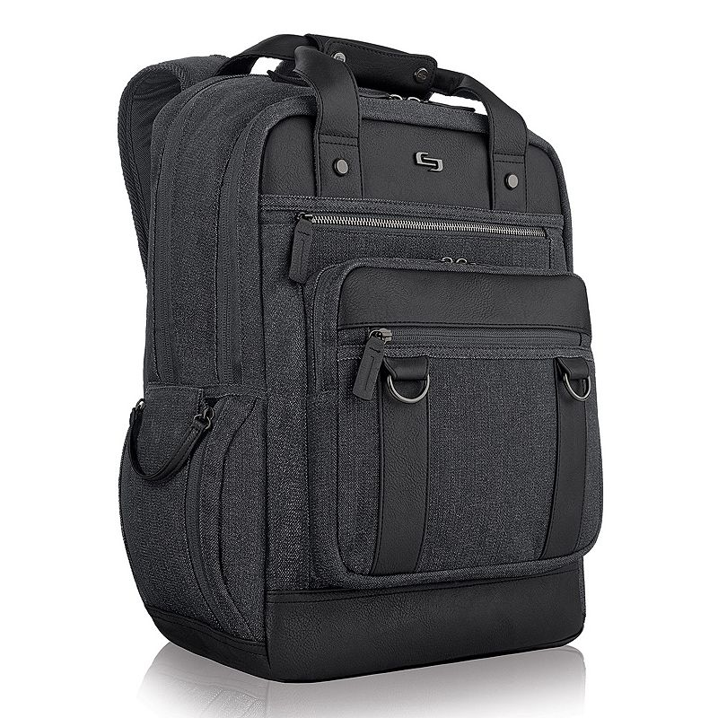 Solo Bradford Laptop Backpack, Black Perfect for the busy professional, this sophisticated Solo Bradford backpack is rugged and refined. Padded compartment fits up to a 15.6  laptop Dedicated interior pocket for a tablet Front zippered organizer makes items easy to find File section keeps papers neat Side pocket for quick access Padded straps for added comfort 19 H x 14.5 W x 6.25 D Weight: 2.45 lbs. Cotton, polyester Zipper closure Manufacturer's 5-year limited warrantyFor warranty information please click here Model no. UBN730-10 Size: One Size. Color: Black. Gender: Male. Material: Soft Side.