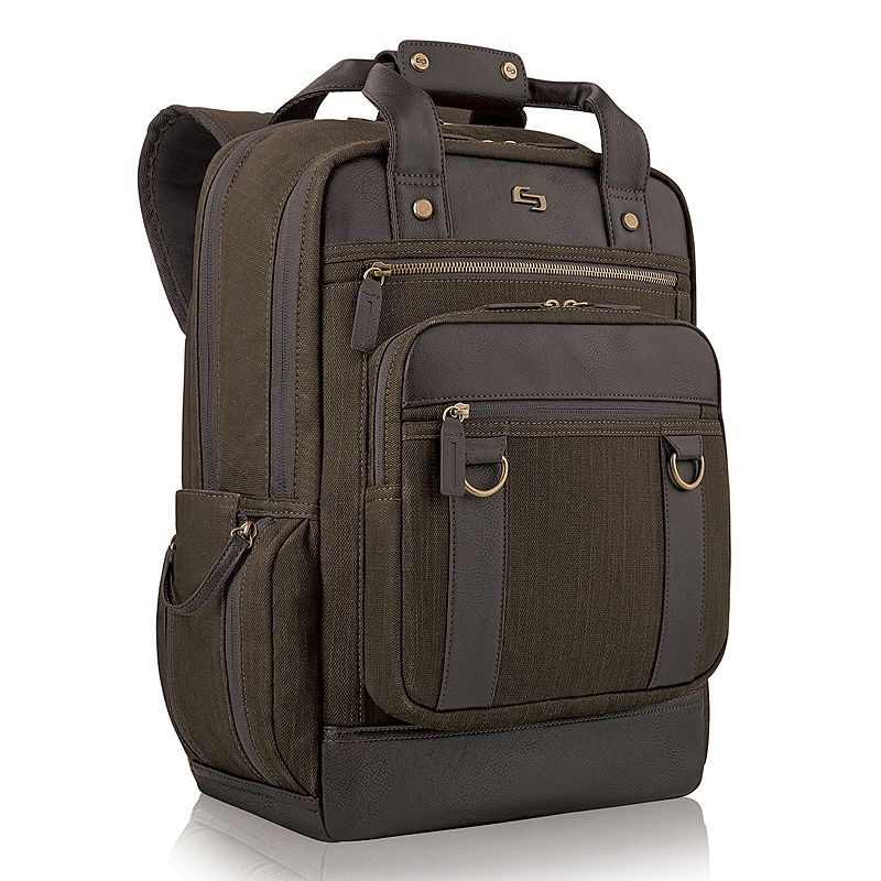 Solo Bradford Laptop Backpack, Brown Perfect for the busy professional, this sophisticated Solo Bradford backpack is rugged and refined. Padded compartment fits up to a 15.6  laptop Dedicated interior pocket for a tablet Front zippered organizer makes items easy to find File section keeps papers neat Side pocket for quick access Padded straps for added comfort 19 H x 14.5 W x 6.25 D Weight: 2.45 lbs. Cotton, polyester Zipper closure Manufacturer's 5-year limited warrantyFor warranty information please click here Model no. UBN730-10 Size: One Size. Color: Brown. Gender: Male. Material: Soft Side.
