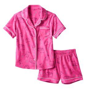 Girls 4-16 SO® Print Short-Sleeved Top & Shorts Pajama Set