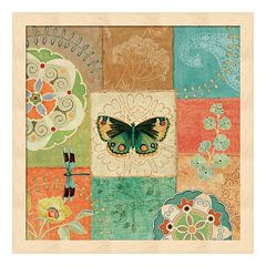 Metaverse Art Folk Floral III Center Butterfly Framed Wall Art